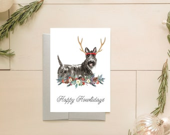 Scottish Terrier Christmas Card - Scottie Dog Holiday Cards - Dog Christmas Card Set - Unique Holiday Card - Holiday Cards Pack - DG3