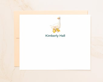 Personalized Ducks Flat Note Cards - Custom Note Cards - Duck Gift - Social Stationery - Farmer Gifts - Duck Stationary Notecards - DK1