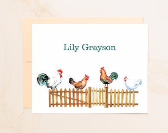 Personalized Chickens Folded Note Cards - Custom Note Cards - Chicken Gift - Social Stationery - Farmer Gifts - Stationary Notecards - CK1