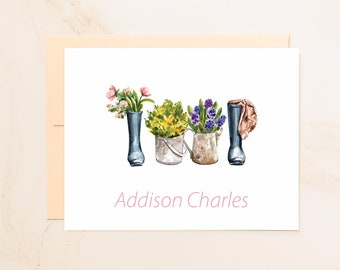 Personalized Gardening Boots Folded Note Cards - Custom Notecards - Farming Gift - Social Stationery - Gardener Gift - Farm Stationary - BT1