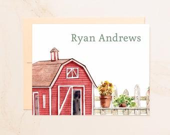 Personalized Barn Folded Note Cards - Custom Note Cards - Farmer Stationery - Social Stationery - Farm Stationary - Fall Notecards - BN1