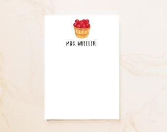 Apple Personalized Notepad - Social Stationery - Personal Notepad - Teacher Custom Notepad - Fall Hostess Gift - Fall Wedding - AB1