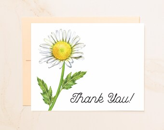 Daisy Folded Thank You Note Cards - Thanks Notecards - Floral Thank You Card - Social Stationery - Note of Thanks - Simple Thank You - DS1