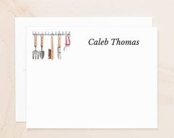 Personalized Gardening Tools Flat Note Cards - Custom Notecards - Farming Gift - Social Stationery - Gardener Gift - Farm Stationary - TL1