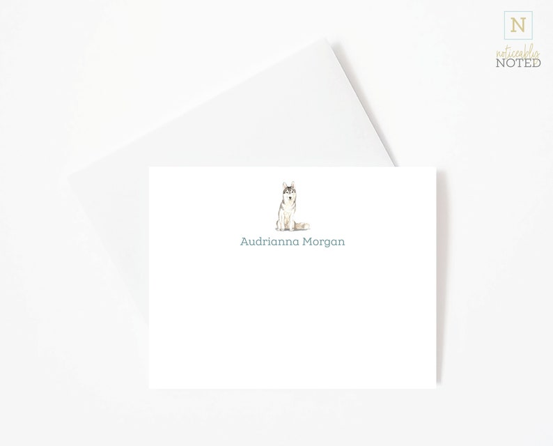 Sibe DG1 Siberian Husky Dog Cards Cute Dog Cards Gifts for Dog Lovers Husky Personalized Flat Note Cards Social Stationery