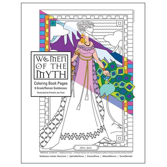 Greek Mythology Goddesses Coloring Pages For Adults Digital Etsy
