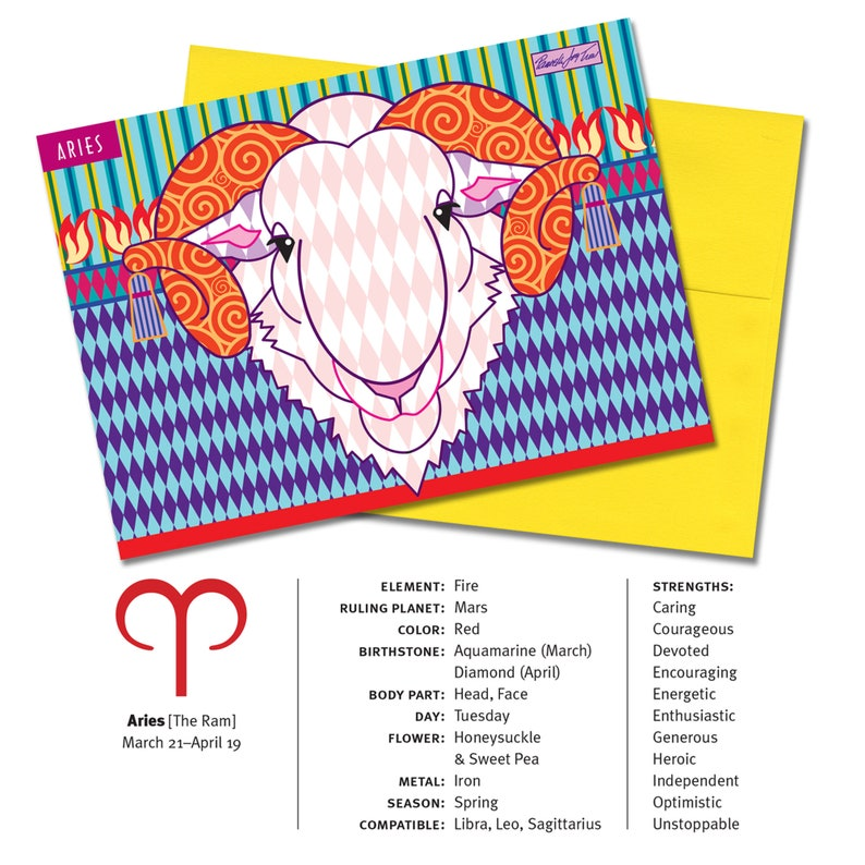 Zodiac Sign Aires (The Ram) Horoscope 5x7 Blank Greeting Card