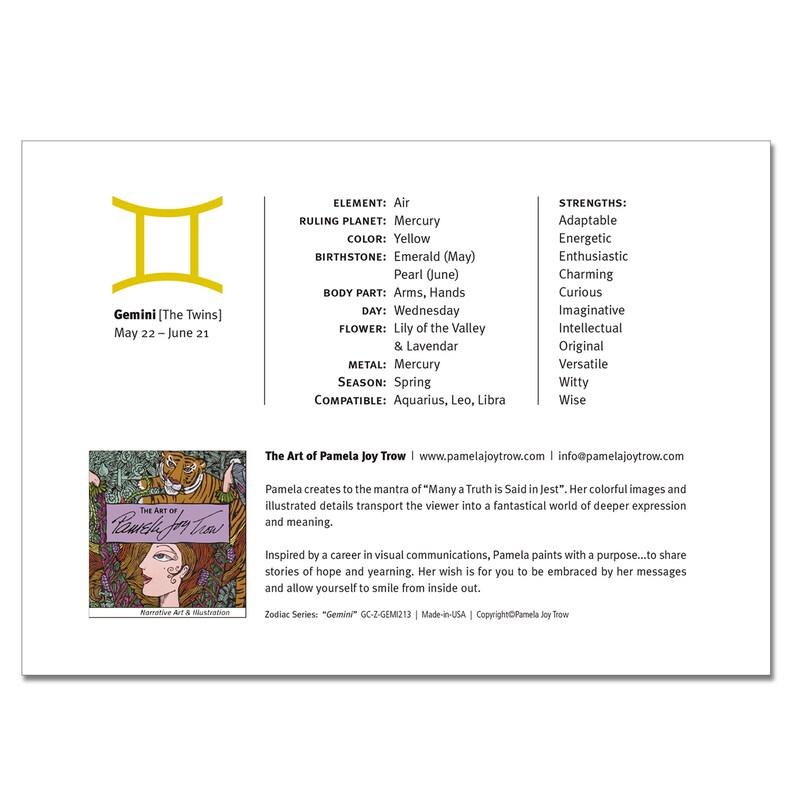 Zodiac Sign Gemini (The Twins) Horoscope 5x7 Blank Greeting Card
