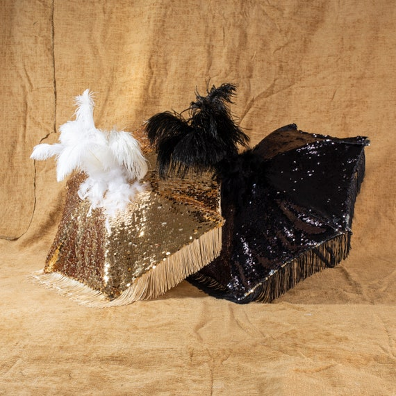 Black Second Line Umbrella with Gold Fringe Gold Sequin Trim and Tall Gold Ostrich Feathers