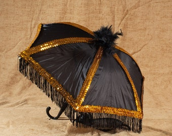 Black Second Line Umbrella with Black Fringe and Gold Sequin and Black Feathers