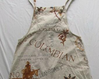 Vintage Cambridge Dry Goods Dress with a Coffee Theme, 55% Linen, Size Medium