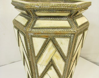 Handcrafted 1930's Art Deco Brass and Inlaid Bone Over Wood Vase