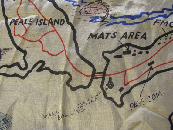 Early and Rare Wake Island Souvenir Map Silk Scarf - image 7