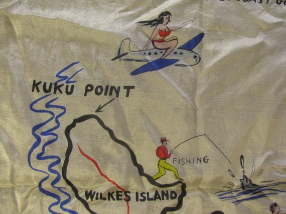 Early and Rare Wake Island Souvenir Map Silk Scarf - image 4