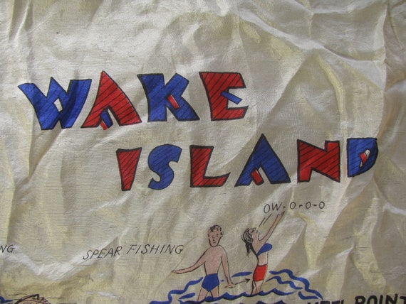 Early and Rare Wake Island Souvenir Map Silk Scarf - image 2