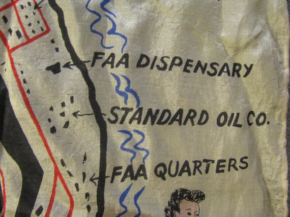 Early and Rare Wake Island Souvenir Map Silk Scarf - image 8
