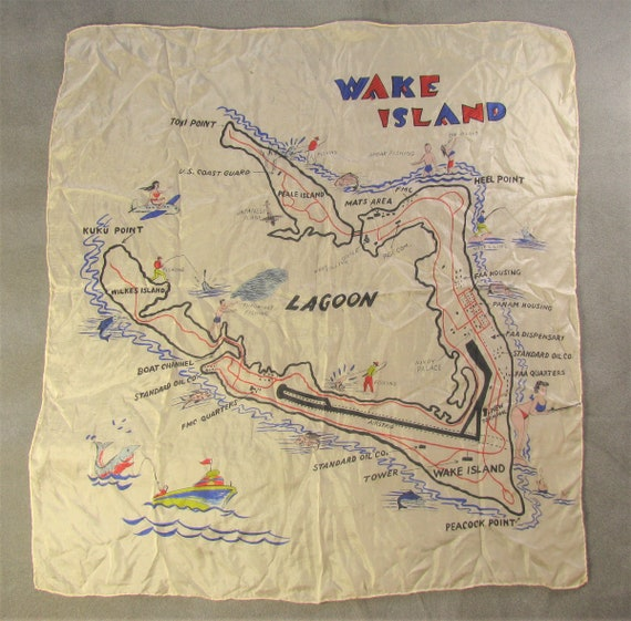 Early and Rare Wake Island Souvenir Map Silk Scarf - image 1
