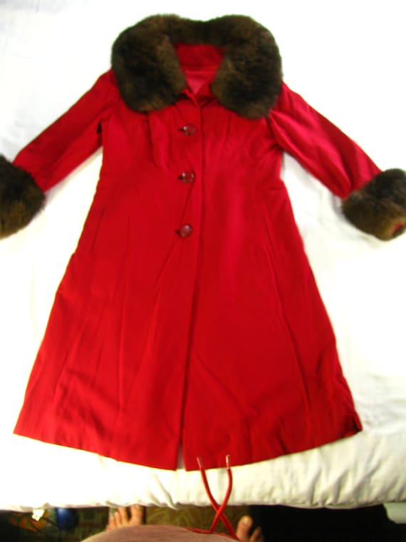 Princess Cut 1950's Women's Red Wool & Genuine Fur