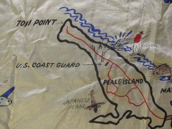 Early and Rare Wake Island Souvenir Map Silk Scarf - image 3