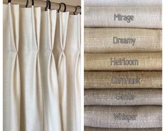 73340533792 Pembrook Faux Tussah (Raw) Silk Drapery. 38 Beautiful Colors. Shabby Chic  Curtains. Custom Pinch Pleat Drapes. Handmade in Canada.