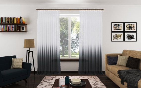 Ombre Sheer Drapery Panels Modern Fabric Curtains