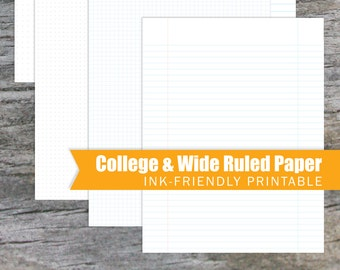 College & Wide Ruled Paper - Dotted, Graph, and Lined
