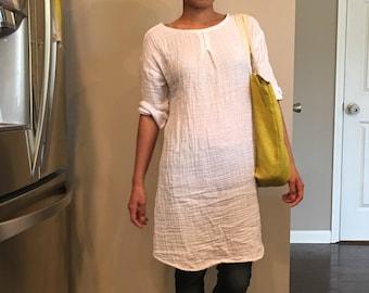 5a04a54dcb7 Summer dress  Tunic  Washed  Textured 100% DOUBLE gauze cotton cotton dress long  tunic long top three-quarter sleeve