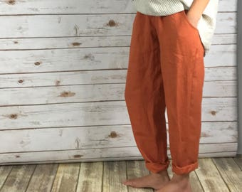 100%Linen EVERYDAY PANTS-Washed/ Textured/ LINEN/flax/pull-up pants