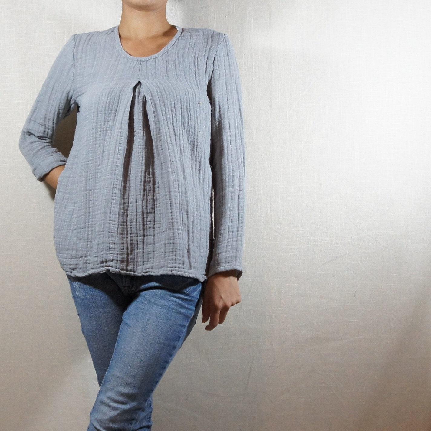 93b9243345f 100% double gauze muslin tunic   blouse  Textured cotton