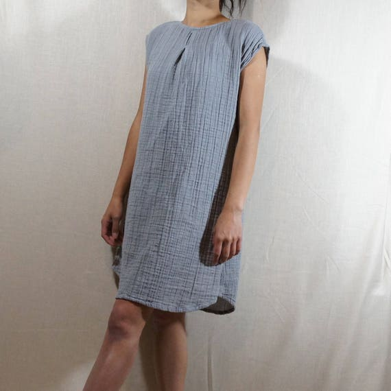 d68e672127 NEW!!Summer dress/ Tunic /Textured/100% DOUBLE gauze cotton/cotton  dress/long tunic/long top