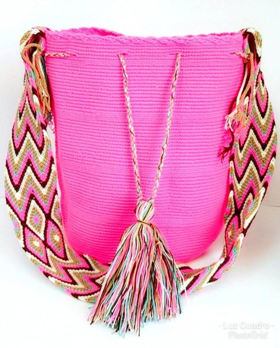 Pink large handmade mochila.