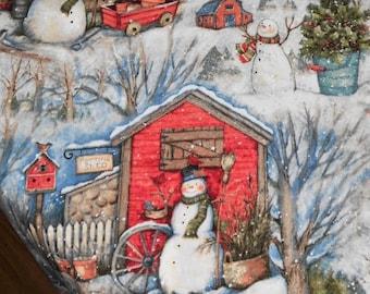 Christmas table runner, vintage Christmas, Christmas decor, snowman, hot chocolate, Twas the Night,
