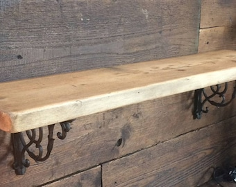 A Reclaimed Pine Wall Shelf With Cast Iron Brackets Various Sizes Available FREE SHIPPING.
