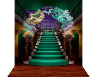 Photography Backdrop - Mardi Gras Staircase - High Quality Seamless Fabric with Floor (optional)