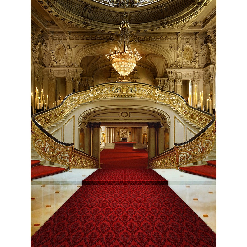 Red Carpet Double Staircase Backdrop a Party Decor Photo Backdrop A Royal Castle Interior Backdrop of Palace Chandeliers and Red Carpets