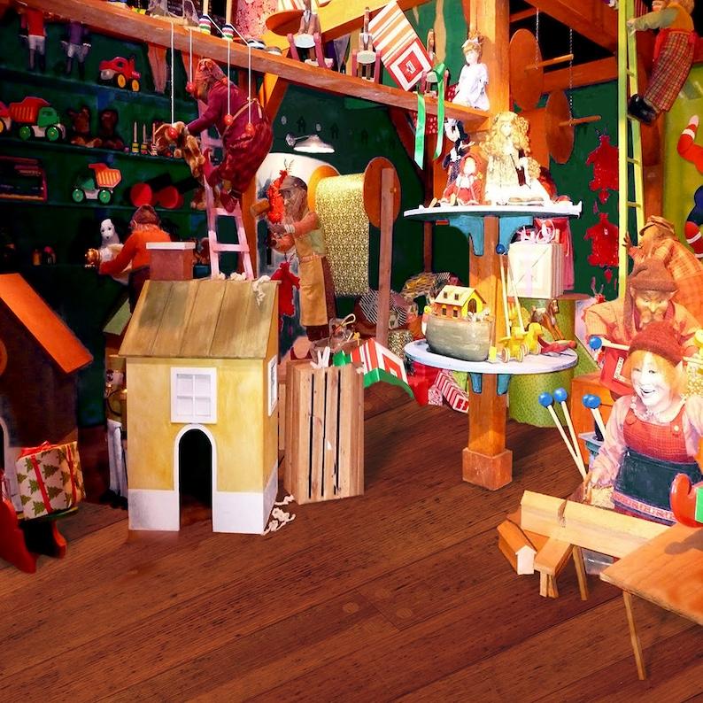 A Christmas Photo Backdrop An Elf and Santa Backdrop at the North Pole Backdrop Santa/'s Workshop Backdrop with Christmas Toys