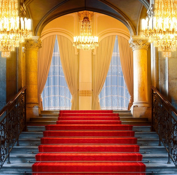 Grand Staircase Photo Backdrop Red Carpet Party Decor Prom Dance Party Forma Event Interior Decor With Chandelier Photography Backdrop