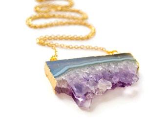 Amethyst Slice Necklace, Amethyst Crystal Necklace, Raw Crystal Necklace, Purple Crystal, Raw Amethyst Druzy Necklace, Geode Necklace