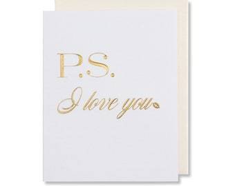 P.S. I Love You Card, Love Card For Him, Love Card For Her, Anniversary Card For Husband, Romantic Card For Wife, Gold Foil Embossed
