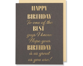 Happy Birthday Boyfriend Card, Quote For Man, Male Friend Card, Birthday Wishes For Husband, Gold Foil