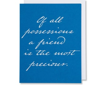 Friendship Quote Card for Women, Birthday Card For A Friend, Card For A Man, White Foil Embossed