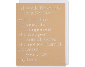 Birthday Wishes Card, Fun Quote Card For Him, Thinking of You, Unique Card For Girlfriend, White Foil Emobssed