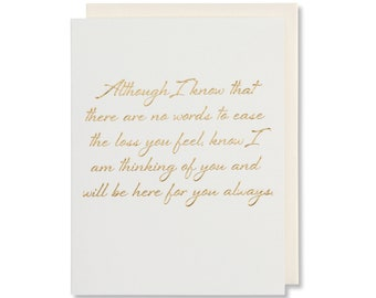 With Sympathy Card For Loss Of Mother, Grief Card For Father, Condolence Card, Thinking Of You Sympathy Card, Gold Foil Embossed