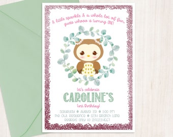 First Birthday Invitation, Owl Birthday Invite, Printable Invite, Watercolor Birthday Invite