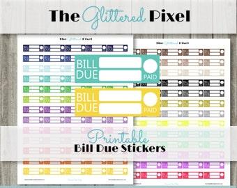 Printable Planner Stickers - Erin Condren Planner Stickers - Bill Due Stickers- Planner Boxes - Budget Stickers - Instant Download