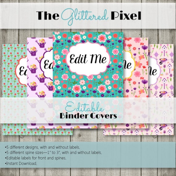 editable binder covers and spines spring flower collection etsy