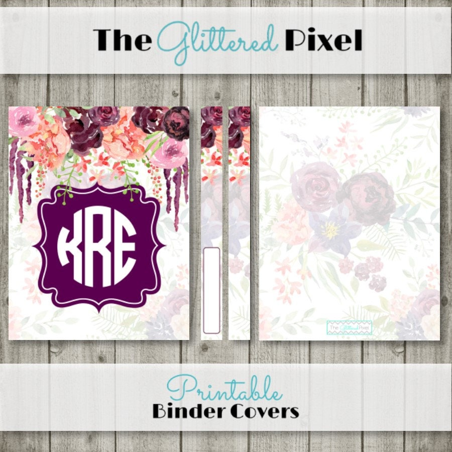 Printable Binder Cover Watercolor Floral Planner Cover