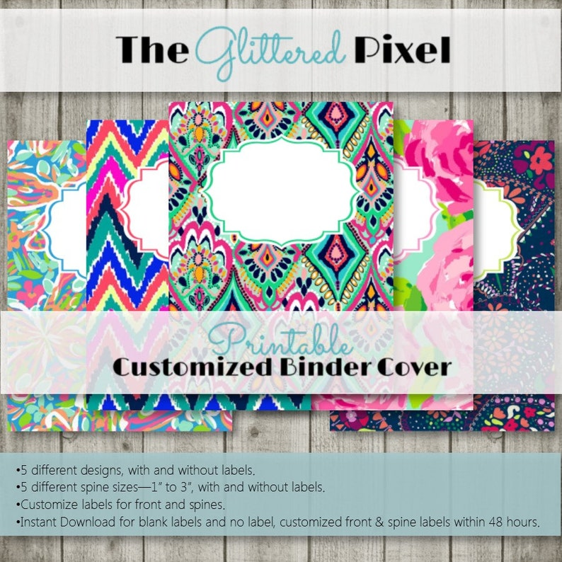 image about Lilly Pulitzer Printable Binder Covers identified as Printable Binder Handles - Lilly Pulitzer Encouraged Assortment - Personalized Binder Inserts