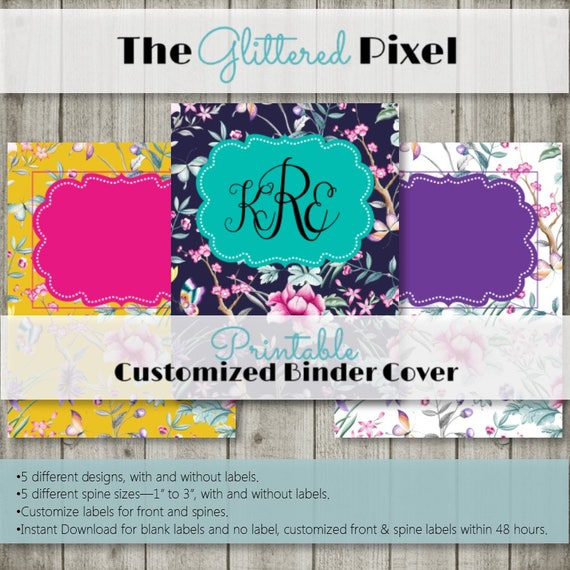 image about Binder Inserts Printable referred to as Printable Binder Handles - Army, Yellow, White Floral Range - Custom made Binder Inserts