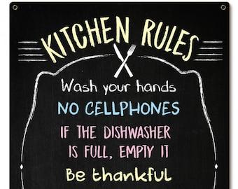 "Metal Sign "" Kitchen Rules Kitchen Decor "" 16""x24"" Kitchen Decor"